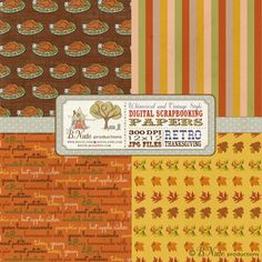 bnute productions: Free Printable Retro Thanksgiving Digital Scrapbook Papers  Love the turkey one!