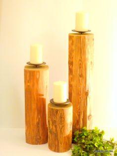 Kerzenständer Holz rustikal        Ø 15-20 cm in 3 Höhen