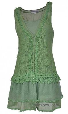 Lady Chantal Lace tunic In light green, for sewing inspiration.