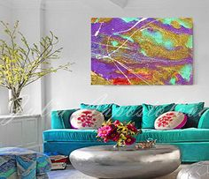 Signed canvas giclee PRINT of contemporary painting by Artist Julia Apostolova.    Canvas giclees look like the original canvas painting. Giclee prints are often used in museums in order to keep the original safe and display the giclee as the original.    Huge Colorful Turquoise Abstract painting print - Unstretched or Ready to Hang of your choice.    The Unstretched print will be shipped Rolled In A Cardboard Tube and can be stretched on wood upon arrival.  The Stretched print (Ready to…