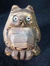 "Japanese 2 3/4"""" Carved Cedar Tanuki Badger Raccoon Dog Fox Figurine Glass Eyes"