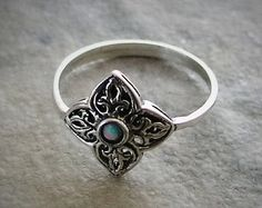 Delicate Opal Sterling silver ornament ring - Filigree, Opal, Free Shipping
