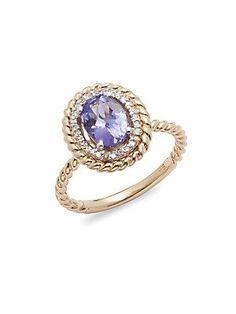 Effy Diamond & 14K Yellow Gold Cable Ring - Purple - Size 7