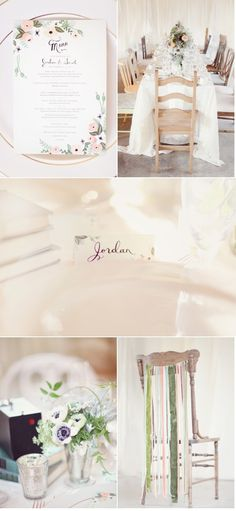 love the colors, menu (but as invitation instead), simple design, succulents...