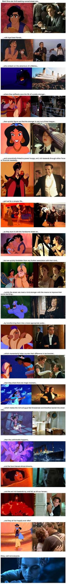 18 reasons aladdin and titanic are the same movie<<Was that last part necessary? (Although, Aladdin is magic and Titanic was realistic, so the only way to be together was for them to be reunited in death.sort of the same there. Disney Pixar, Disney Memes, Disney And Dreamworks, Funny Disney, Disney Quotes, Disney Crossovers, Disney Facts, Disney Villains, Disney Love