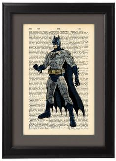 Batman+comic+Dictionary+Print+Book+Pages+Home+OFFICE+by+Natalprint