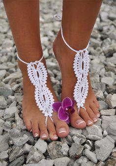 White crochet barefoot sandals with flower