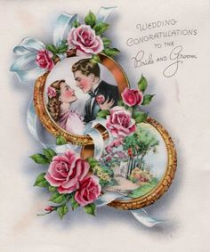 Vintage Wedding Cards, Vintage Wedding Invitations, Vintage Greeting Cards, Wedding Art, Vintage Bridal, Wedding Groom, Vintage Postcards, Vintage Images, Wedding Wishes Quotes