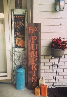 From DIY fall porch signs to fall porch planters, there are plenty of cozy and inviting fall porch ideas for inspiration. Fall Projects, Porch Signs, Diy Signs, Fall Home Decor, Fall Harvest, Porch Decorating, Decorating Ideas, Fall Porch Decorations, Halloween Decorations