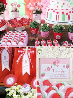 A Strawberry Shortcake Joint Birthday Party - ideas on DIY decorations, food, printables and favors for this fruity celebration! Joint Birthday Parties, Picnic Birthday, Birthday Party Themes, Birthday Invitations, Birthday Ideas, Strawberry Shortcake Birthday, Fiestas Party, Bird Party, Decoration Table