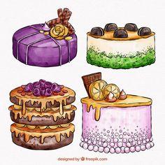 Watercolor Food, Watercolor Pattern, Watercolor Illustration, Watercolor Texture, Cute Kawaii Drawings, Cool Art Drawings, Cartoon Drawings, Candy Drawing, Food Drawing