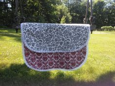 Red Toile and Gray Floral Table runner with Lace Trim by pinklilypadbags on Etsy