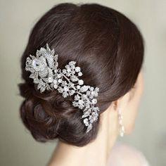 7.8 Elegant Flower Bud Hair Comb Oval Drop Swarovski by Annamall, $32.99