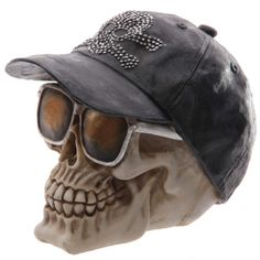 #skulls #cool PRICE £11.49 Novelty Skull with Shades and Cap Ornament made from resin. Dimensions: Height 13.5cm Width 10cm Depth 16cm. Plenty more skull ornaments to see in our online store ;)