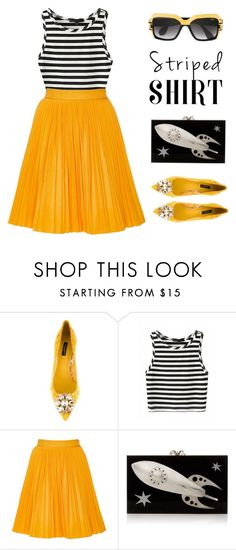 """""""NYC"""" by stavrolga on Polyvore featuring Dolce&Gabbana, MSGM, Charlotte Olympia, Cazal, maxiskirt, polyvoreeditorial, stripedtop and stripedshirt"""