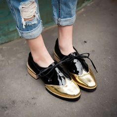 Fashion Brogue Womens Lace Up Color Stitching Slip On Loafers Shiny Patent Shoes