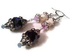Black crystal and fresh water pearl dangle earrings | specialtivity - Jewelry on ArtFire