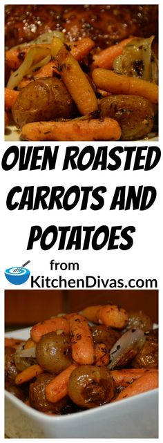 This recipe for Oven Roasted Carrots and Potatoes is so easy and absolutely delicious! After preparing the vegetables you just toss in lemon juice and olive oil and pour into your pan and bake! Garlic, thyme and oregano make this a perfect vegetable sid