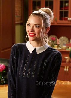 Seen on #Celebrity Style Guide: #Hart of Dixie Fashion: #Jaime King, as Lemon Breeland, wears this navy embellished blouse with white collar  on Hart of Dixie episode 'A Good Run Of Bad Luck ' - 3x17  Get It Here: http://rstyle.me/~1SoyI