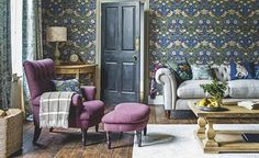 living room John Lewis Morris-&-Co Strawberry thief wallpaper