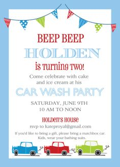 I think I found the perfect invite template for B's party in August..... finally! :-) Car Birthday Invitation by camaddisondesigns on Etsy, $14.00