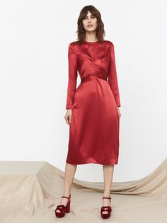 Simone Red Silk Tie Waist Dress