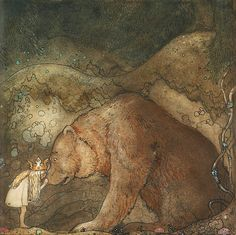"""Illustration by John Bauer for a tale by Helena Nyblom in """"Bland tomtar och troll"""" (1912 ed)"""