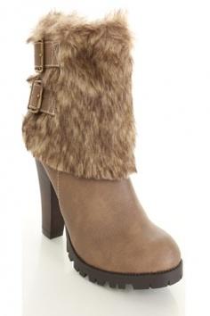 Look 1: Tan Faux Leather Faux Fur Buckle Strapped Bootie Heels / AMI Clubwear $26.99
