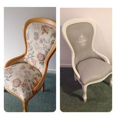 Before and after! Painted with Annie Sloans Paris Grey and Old White. The fabric is painted too!