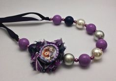 Chunky Gumball Necklace  - Sofia the First - Purple