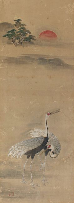 Antique Japanese Art Bird and Flower Painting Cranes Japanese Hanging Scroll Kakejiku