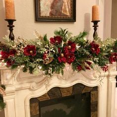 Christmas Magnolia Garland 9 foot 140 LED light with multi Etsy Diy Christmas Fireplace, Christmas Mantels, Noel Christmas, Rustic Christmas, Christmas Lights, Christmas Wreaths, Christmas Crafts, Christmas Christmas, Christmas Villages