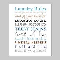 LAUNDRY RULES  8x10 Print  Laundry Room Decor Wall Art  by Tessyla, $20.00