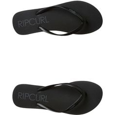 Rip Curl Bondi Thong Black (12 AUD) ❤ liked on Polyvore featuring shoes, sandals, flip flops, black, footwear, thongs, womens footwear, rubber flip flops, rip curl sandals and kohl shoes