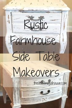 Rustic Farmhouse Style Side Table Makeovers - The Little Frugal House