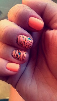 Jamberry Nails... Boomerang Jamberrys with Sun Of A Peach China Glaze Nail Lacquer