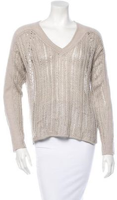 Beige Helmut Lang crocheted top with V-neck, long sleeves, high-low hem and tonal stitching throughout. Crochet Long Sleeve Tops, Crochet Top, Women's V Neck Sweaters, Helmut Lang, Knitwear, Turtle Neck, Beige, Pullover, Stitch