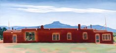 Ghost Ranch house with Pedernal, courtesy Georgia O'Keeffe Museum