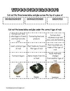 This one page document allows students to sort facts and information about rocks into one of the three types of rocks:  igneous, sedimentary, and m...