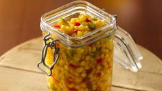 Red pepper sauce, mustard seed and onion give this relish a feisty flair. Best Corn Recipe, Corn Relish Recipes, Corn Recipes, Canning Recipes, Side Dish Recipes, Vegetable Recipes, Healthy Recipes, Vegetable Sides, Copycat Recipes