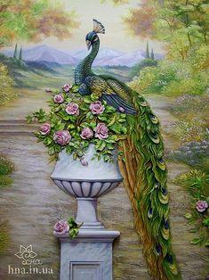 Peacock made with polymer clay on an art canvas-beautiful! Барельеф в деталях.Учимся Создавать БАРЕЛЬЕФ | ВКонтакте