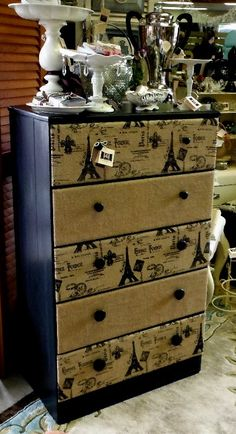 upholstered burlap dresser - Only with Camo burlap for Gabe