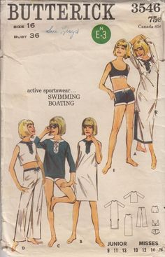Women's Beachwear Butterick 3546 Pattern ~ Surfer style two piece swimwear, tunics with or without sleeves in 3 lengths and pants all pieces with surfer tie waistband detail ~