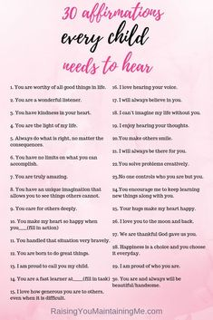 30 Affirmations Every Child Needs To Hear: Affirmations are an easy tool to build confidence in children and encourage positive behavior. Here are 30 affirmations to start saying to your children now. parenting 30 Affirmations Every Child Needs to Hear Kids And Parenting, Parenting Hacks, Parenting Styles, Foster Parenting, Foster Parent Quotes, Gentle Parenting Quotes, Positive Parenting Solutions, Conscious Parenting, Mindful Parenting