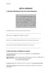 English worksheet: Metalworking