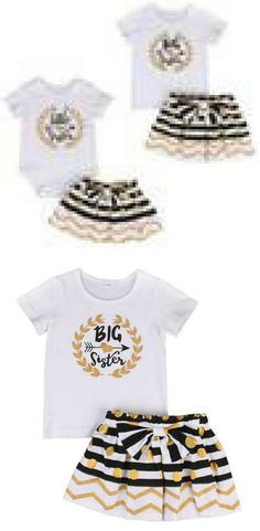 a89996e877d7 Make your girls to the twinning outfit with these sisters matching outfits.  Big Sister Little