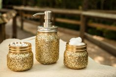 Gold glitter bathroom set. One pint jar hand by TrulySouthernDecor, $20.00