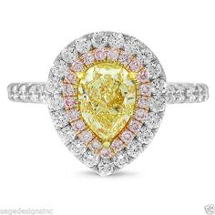 2.04 TCW 18K Multi Tone Gold Fancy Intense Yellow Pear Cut Pink Diamond Ring #SageDesigns #SolitairewithAccents