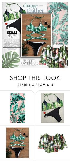 """Leaf print"" by vanjazivadinovic ❤ liked on Polyvore featuring PBteen, under100, polyvoreeditorial and zaful"