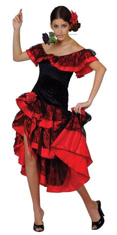 Girls Spanish Dress Flamenco Black Red Fancy Dress Costume Book World Day